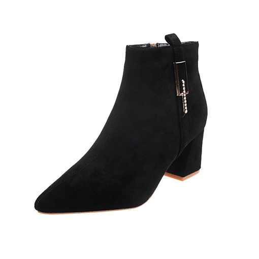 Chunky Heel Pointed Toe Side Zipper Plain Casual Ankle Boots