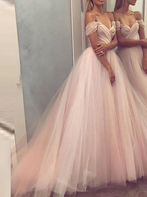 Off-The-Shoulder A-Line Floor-Length Sweep Train Prom Dress