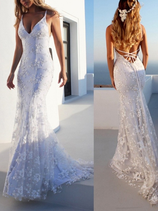Mermaid Spaghetti Straps Lace Boho Beach Wedding Dress