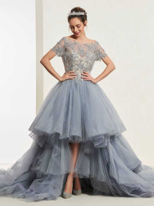 8d054e255c9 Short Sleeves Beading Floor-Length Ball Gown Quinceanera Dress 2019