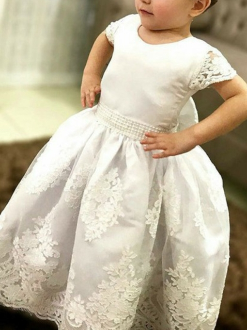 Ball Gown Appliques Round Neck Flower Girl Dress