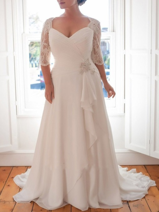 Lace Half Sleeves Beading Plus Size Wedding Dress 2019