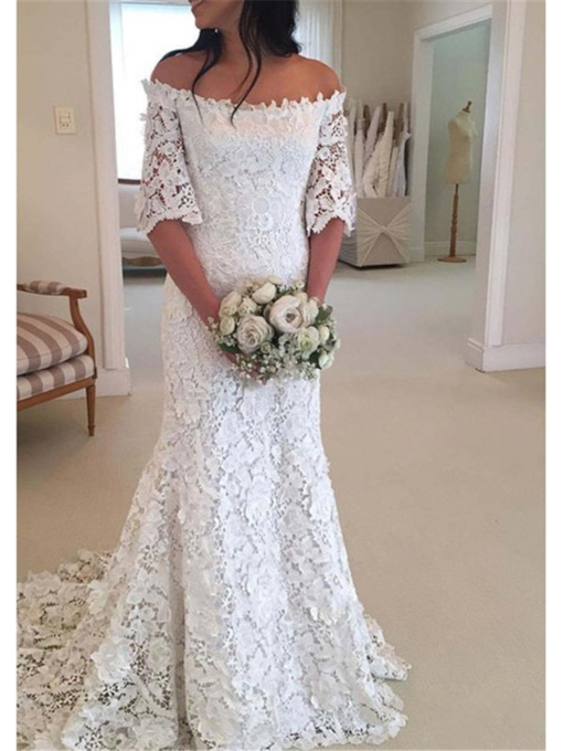 Off the Shoulder Half Sleeve Lace Wedding Dress 2019