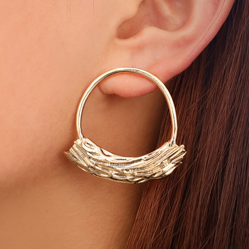 Irregular Gold Sheet Inlaid Circle Alloy Hoop Earrings