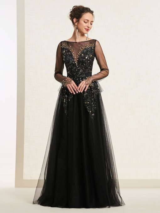 Button Bateau A-Line Long Sleeves Prom Dress