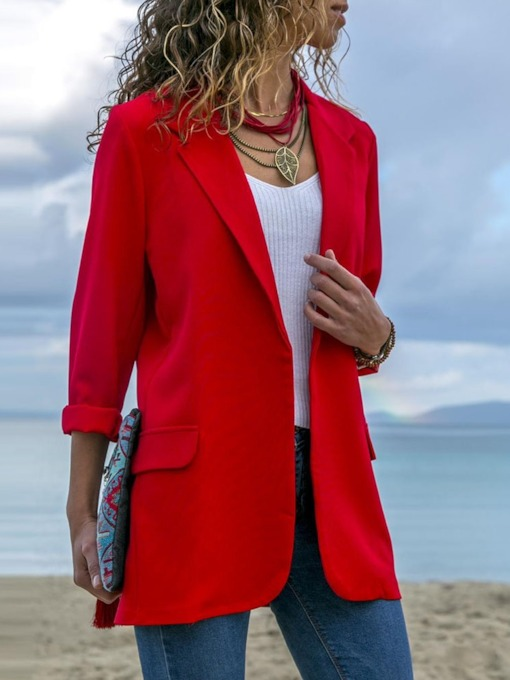 Long Sleeve Plain Notched Lapel Fall Women's Blazer