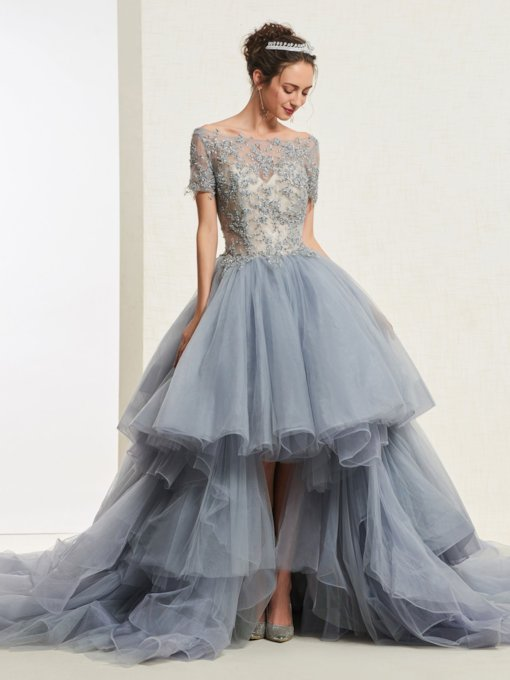 Short Sleeves Beading Tiered High Low Ball Gown 2019