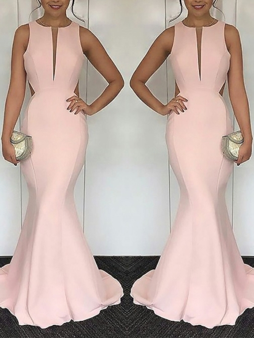 Floor-Length Sleeveless Trumpet Evening Dress