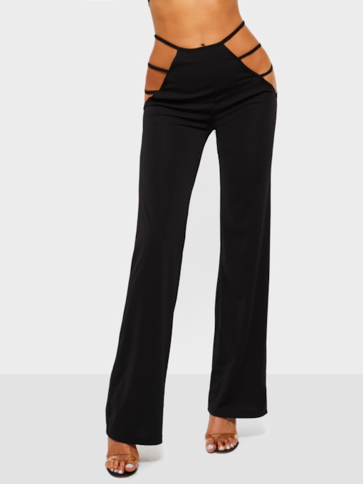 Slim Hole Plain Straight Women's Casual Pants