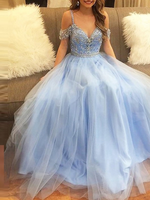 Open Shoulder Beading Spaghetti Straps Prom Dress 2019