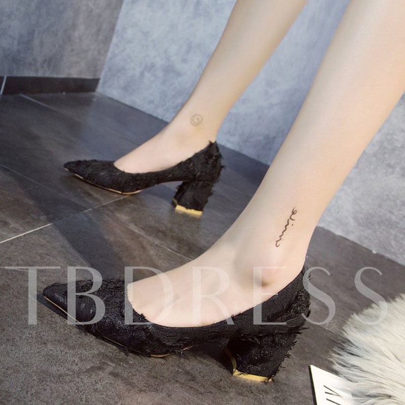 Slip-On Chunky Heel Pointed Toe Unique Women's Pumps