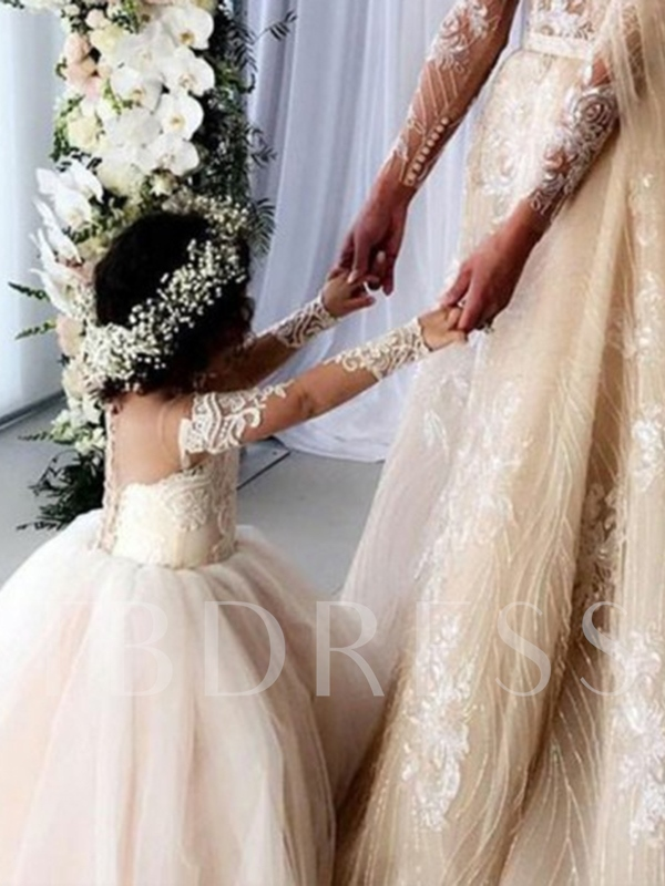 Illusion Neck Long Sleeve Appliques Flower Girl Dress