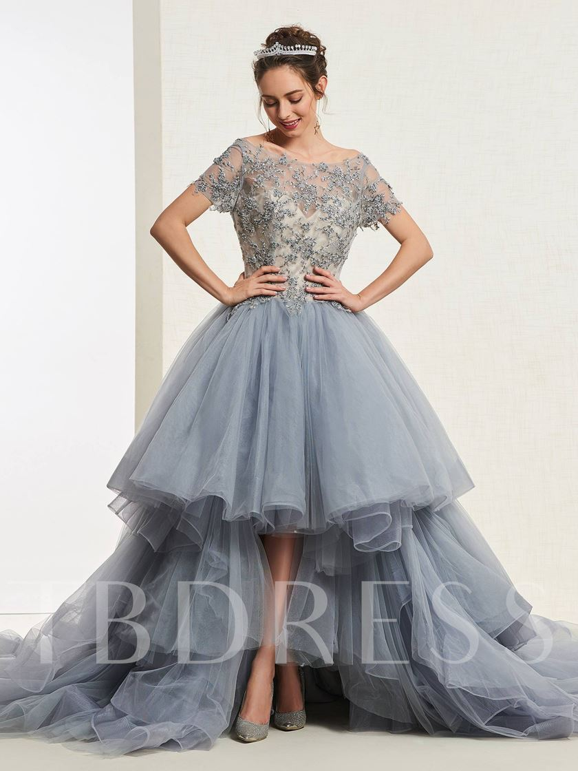Short Sleeves Beading Floor-Length Ball Gown Quinceanera Dress 2019