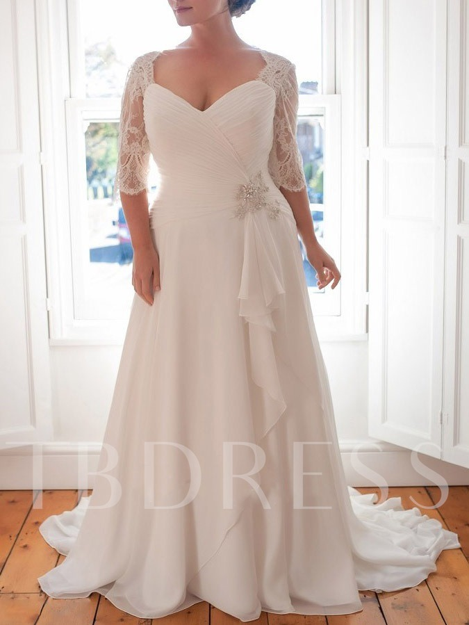 Half Sleeves Beading Plus Size Wedding Dress 2019