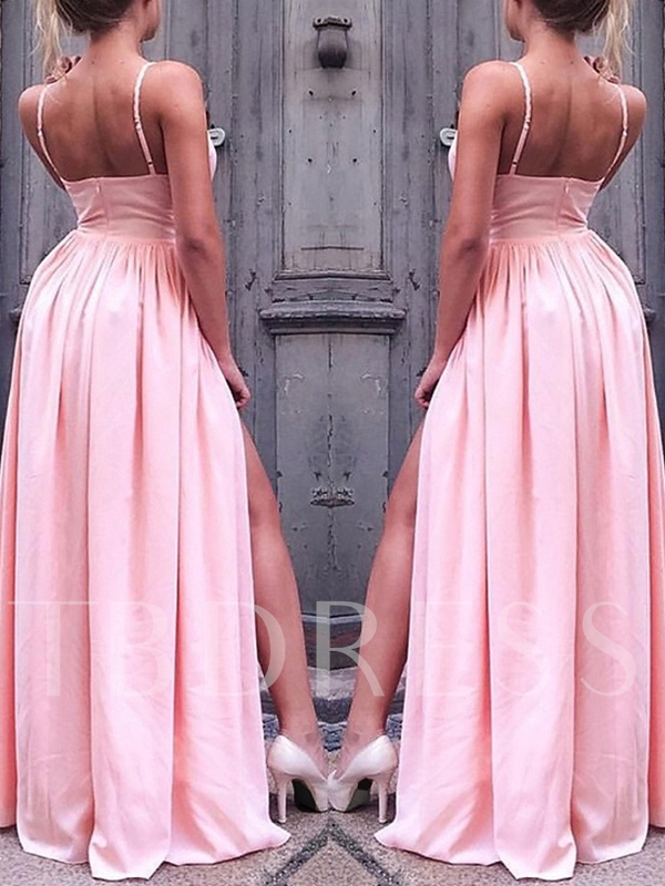 Floor-Length Spaghetti Straps A-Line Pleats Prom Dress