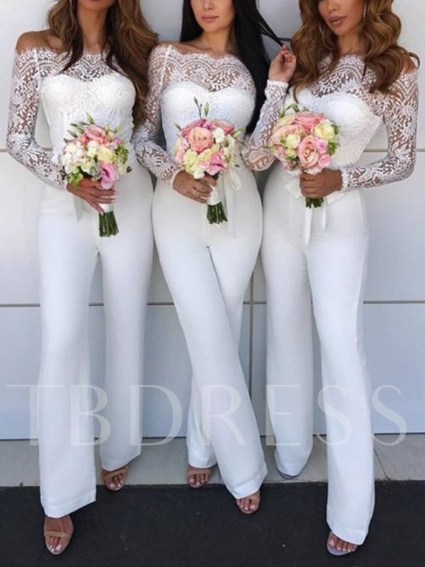 Off the Shoulder Lace Long Sleeve Bridesmaid Jumpsuits