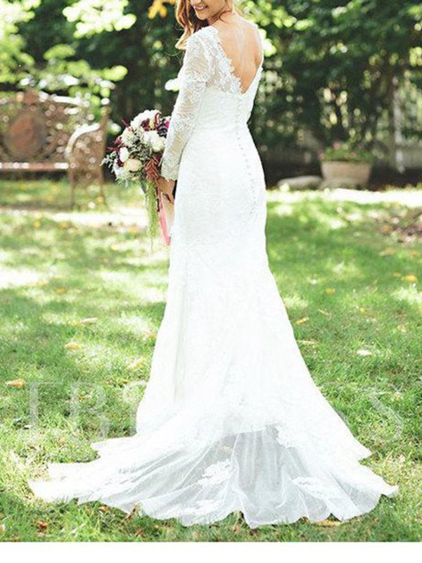 Button Lace Mermaid Wedding Dress with Long Sleeves