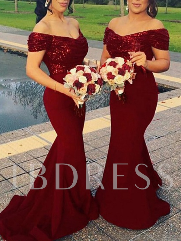 Mermaid Off the Shoulder Sequins Bridesmaid Dress