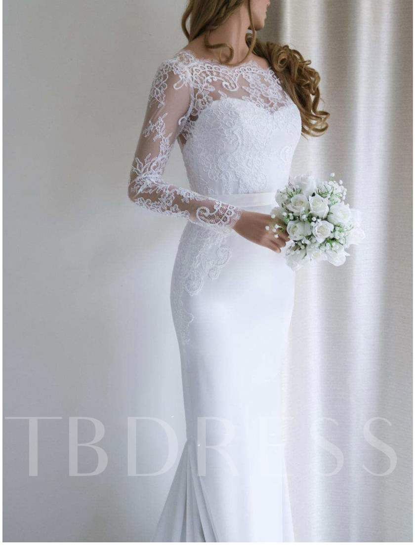 Long Sleeves Low Back Mermaid Lace Wedding Dress 2020
