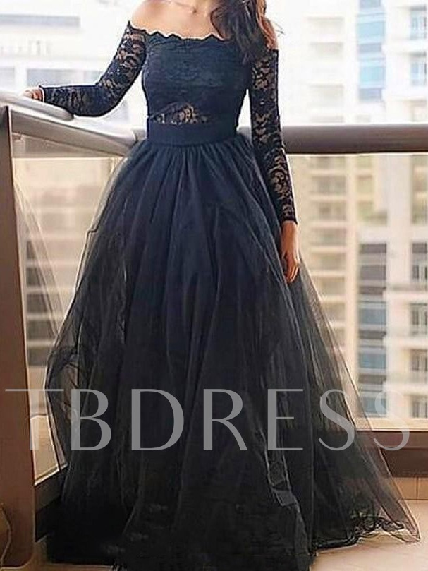 Long Sleeves Off-The-Shoulder Appliques A-Line Evening Dress