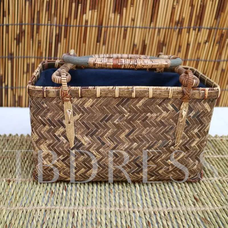 Knitted Plain Rectangle Tote Bamboo Bags