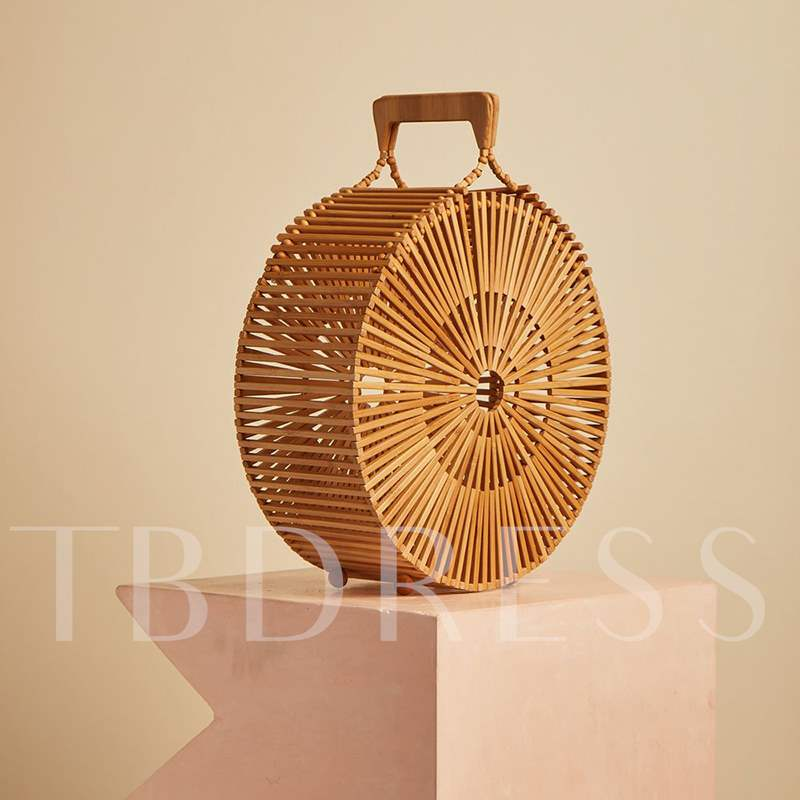 Casual Plain Knitted Circular Tote Bamboo Bags