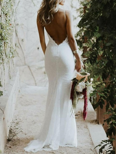 Spaghetti Straps Lace Backless Beach Wedding Dress 2019 Spaghetti Straps Lace Backless Beach Wedding Dress 2019