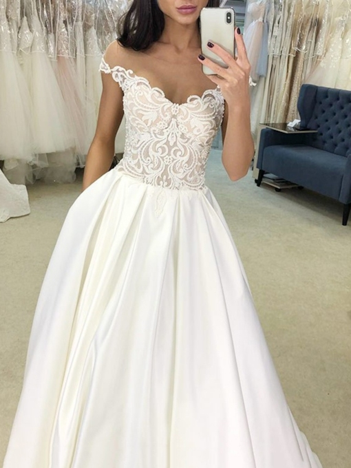Illusion Neck Cap Sleeves Pockets Lace Wedding Dress 2019
