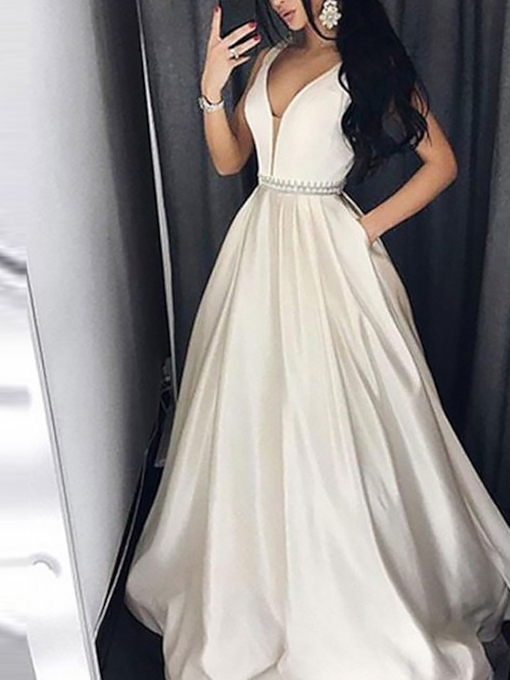 Floor-Length V-Neck A-Line Beading Evening Dress 2019