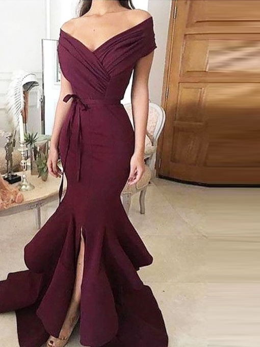 Short Sleeves Trumpet Pleats Sashes Floor-Length Evening Dress