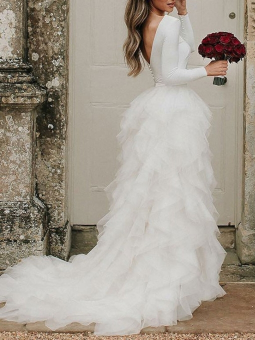 Cascading Ruffles Button Long Sleeve Wedding Dress 2021