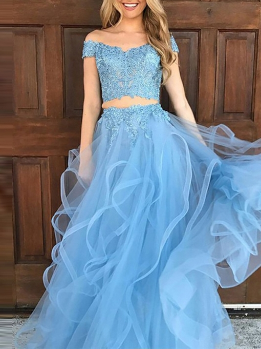 Floor-Length A-Line Short Sleeves Off-The-Shoulder Prom Dress