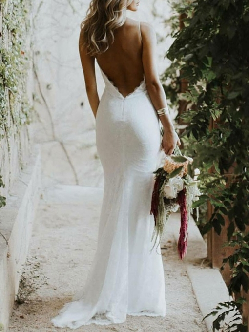 Spaghetti Straps Lace Backless Beach Wedding Dress 2021