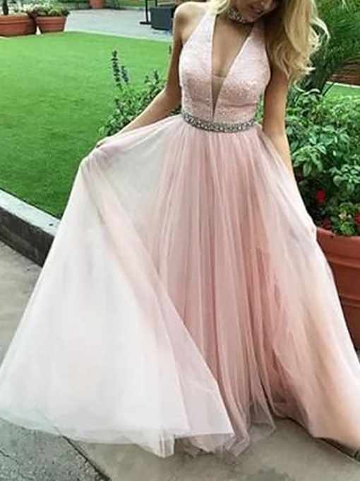 Sleeveless Floor-Length Lace A-Line Prom Dress