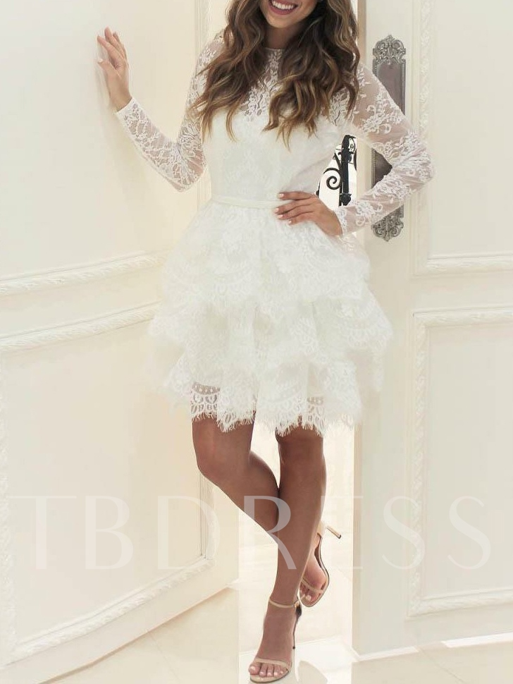 Long Sleeves Tiered Short Lace Wedding Dress 2019