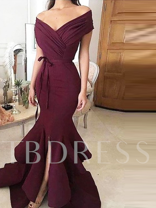 Off the Shoulder Pleats Sashes Mermaid Evening Dress 2019