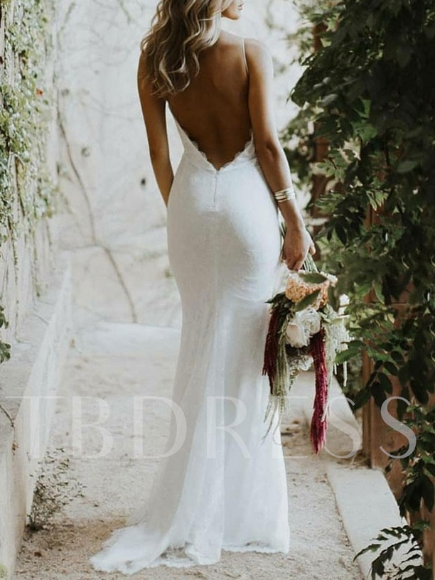 Backless Wedding Dresses.Spaghetti Straps Lace Backless Beach Wedding Dress 2019