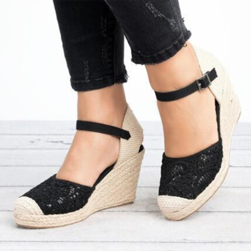Buckle Wedge Heel Closed Toe Vintage Espadrille Sandals
