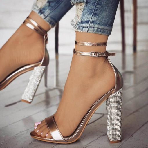Chunky Heel Heel Covering Open Toe Banquet Rhinestone Glitter Sandals