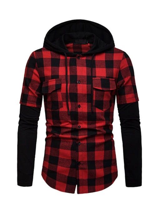 Casual Plaid Patchwork Hooded Slim Men's Shirt