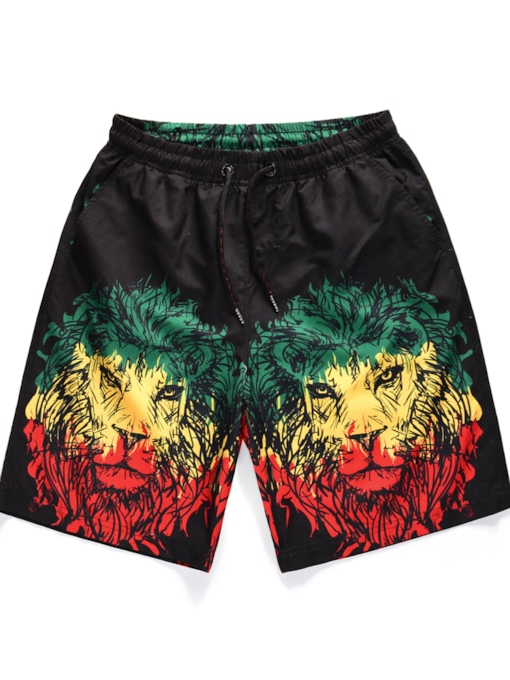 3D Lion Printed Straight Men's Beach Shorts