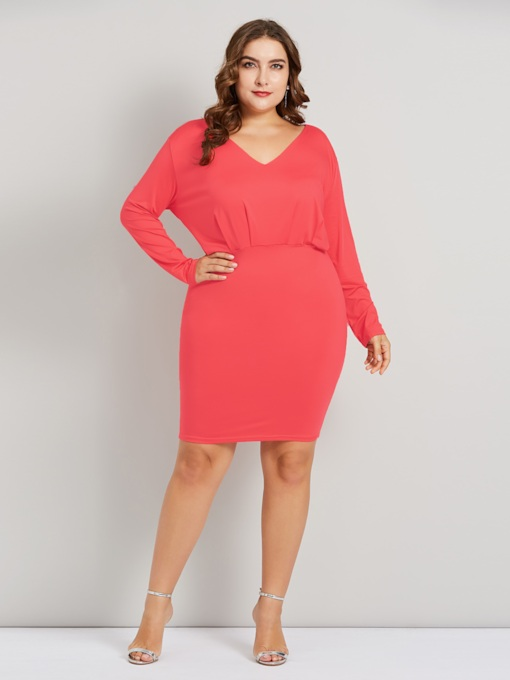 Plus Size Pullover V-Neck Pleated Women's Long Sleeve Dress