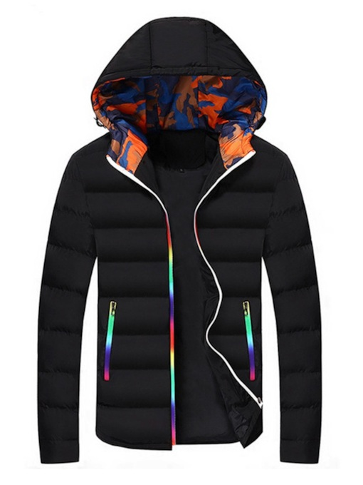 Color Block Slim Thick Men's Down Jacket