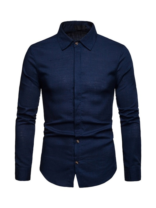 Lapel Plain Casual Men's Shirt