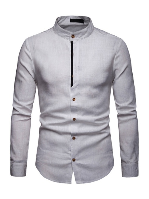 Stand Collar Patchwork Casual Slim Men's Shirt