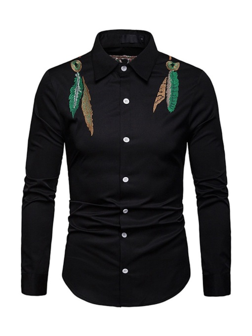 Lapel Embroidery Men's Shirt