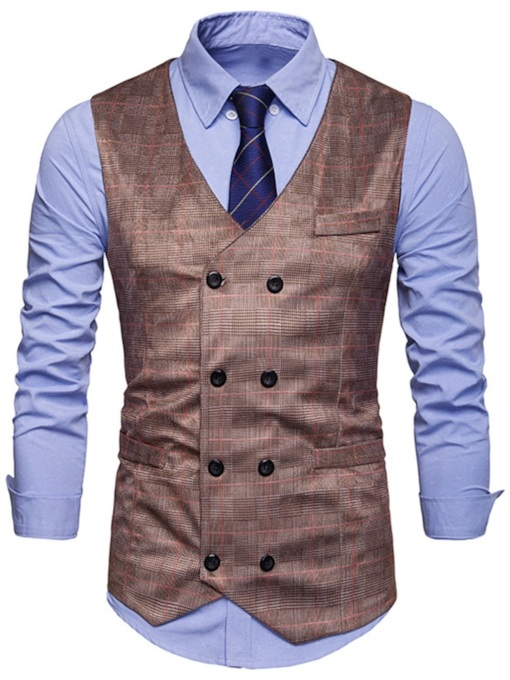 V-Neck Plaid Double-Breasted Men's Waistcoat