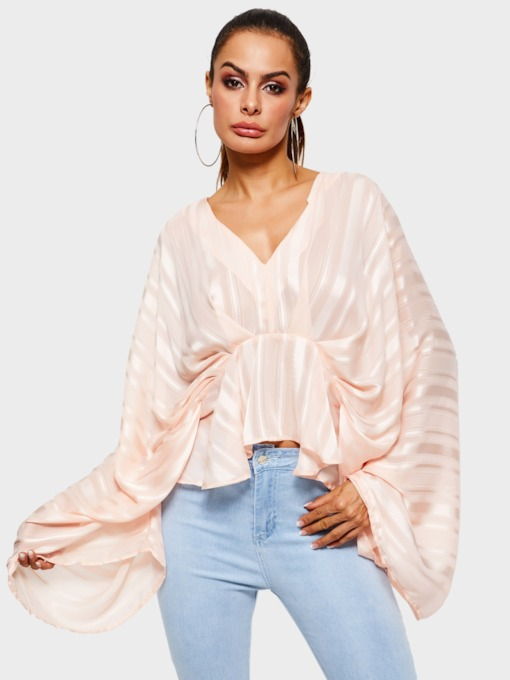 Asymmetric V-Neck Plain Batwing Sleeve Women's Blouse