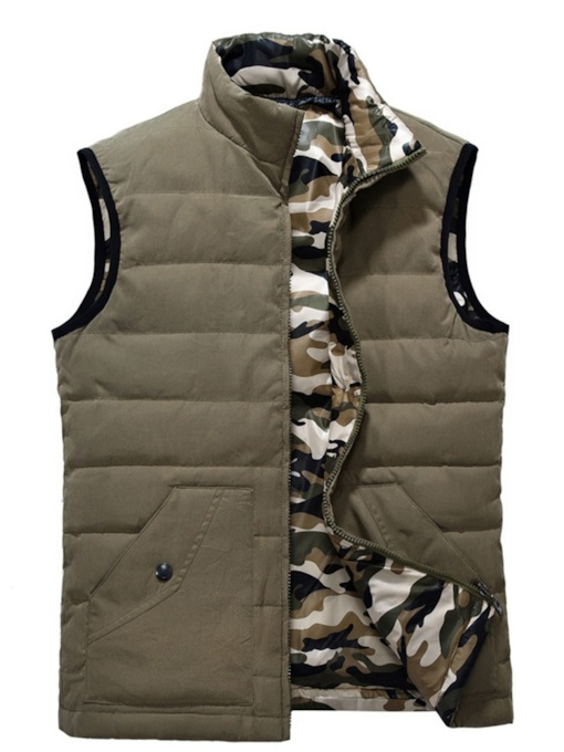 Stand Collar Plain Thick Fur-zipper Men's Vest