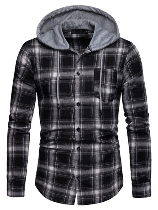 Hooded Patchwork Casual Plaid Men's Shirt
